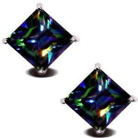Rainbow Peacock Topaz Square Princess Cut CZ Basket Set Silver Men Unisex Stud Earrings