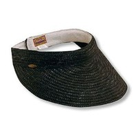 Scala Straw Braid Large Brim Sun Visor Hat in Black