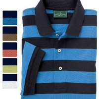 Outer Banks Men's Active Pinpoint Pique Rugby Stripe Shirt