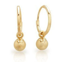 Duragold 14k Yellow Gold 10mm Endless Hoop Earrings with 4mm Bead
