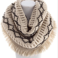 Fluffy Knit Infinity Scarf Beige Scarf  Back to School Winter Fall Fashion Neckwarmer By- PiYOYO