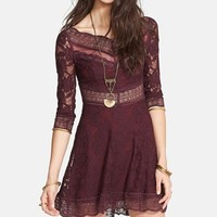 Free People 'Lacey Affairs' Mixed Lace Skater Dress