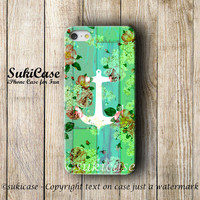 ANCHOR IPHONE 5S CASE Green Flower Anchor Vintage Girly Wooden Floral Fashion iPhone Case iPhone 5 Case iPhone 4 Case iPhone 5c iPhone 4s