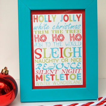 Framed Christmas Subway Art Aqua Red