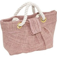 Murval Sand Jute Small Pleated Clutch w/ Rope Detail