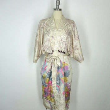 Robe Kimono / Hand Made / Vintage Indian Sari / Cream Satin Muted Floral Print / Limited Edition