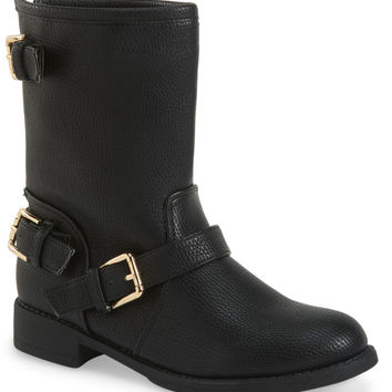 Metallic Buckle Moto Short Boot