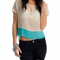 semi-sheer two-tone top &amp;#36;21.30 in IVORY ORANGE YELLOW - Sleeveless | GoJane.com