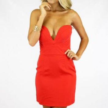 Orange Plunging Sweetheart Neckline Mini Dress