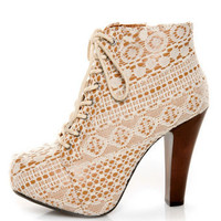 Qupid Puffin 39 Ivory Fabric Lacy Lace-Up Booties - &amp;#36;51.00