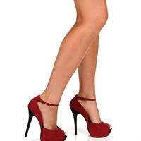 Burgundy Faux Suede Ankle Strap Heels
