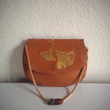 Vintage 70's Ostrich Purse Italian Tan Genuine Leather Painted Lotus Clutch