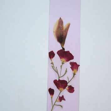 """Handmade unique bookmark """"Attracted by color and smell"""" - Decorated with dried pressed flowers and herbs - Original art collage."""