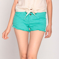 Sneak Peek Fray Denim Shorts in Faded Green