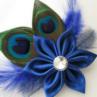 Wedding Hair Clip Fascinator, Royal Blue Peacock Hair Fascinator, Bridal Birdcage French Net, Bride's Hair Accessories, Bridal Accessories
