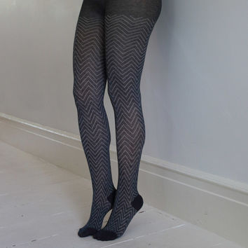 Grey/Ivory Chevron Tights | Print & Patterned Tights | Playful Sophisticated Legwear at Between the Sheets