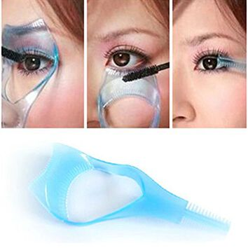 3 in 1Functional Newest blue Cosmetic Mascara Eyelash Baffle Comb Applicator Helper Guide Card Tool