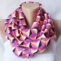 Geometric chevron design pink orange cream tones chunky by Periay