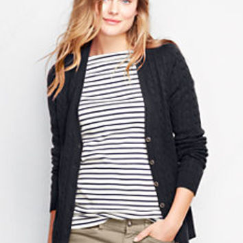 Women's Cotton Cable V-neck Cardigan Sweater from Lands' End
