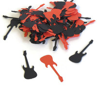 electric guitar confetti - rock and roll party decorations by partyparts - 100 pieces