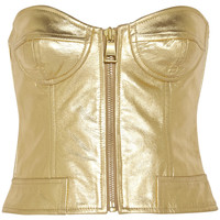 Moschino Cheap and Chic - Metallic leather bustier