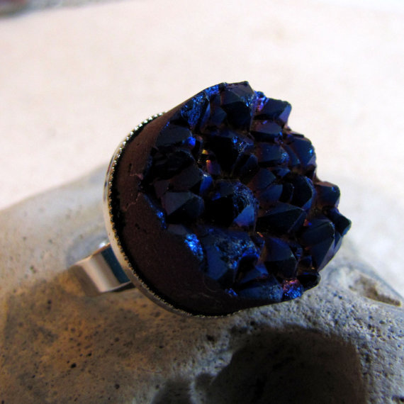 Peacock Druzy Ring  Stone Castle  Blue Titanium by AshleySpatula