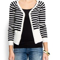 Mango Women`s Stripes V-neck Cardigan