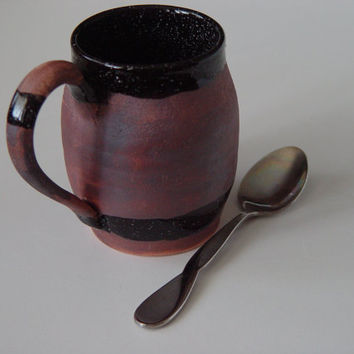 Keg Coffee Mug \ Beer Barrel Growler \ Tea Cup Large Handled 10 oz pottery, Speckled Black over Rust Brown, Wheel Thrown Pottery stoneware