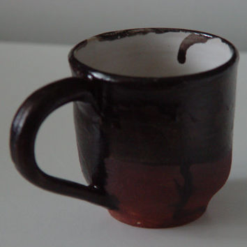 Black Coffee Cup \ Tea Cup Large Handled 10 oz pottery Mug,  Wheel Thrown Pottery ceramic