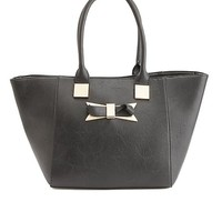 Bow-Embellished Oversized Tote Bag