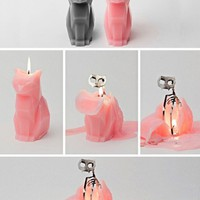 """Kisa Pyropet"" Cat Candle (Light Grey)"