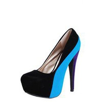 Qupid Penelope44x Black Colorblock Velvet Hidden Platform Pumps and Womens Fashion Clothing & Shoes - Make Me Chic