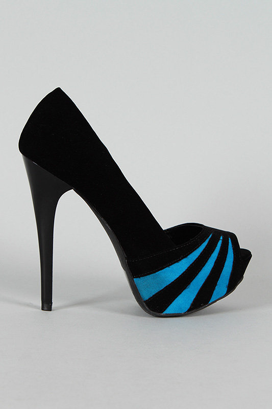 Qupid Sin-13 Striped Peep Toe Platform Pump