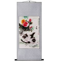 EXP Handmade Peony & Kittens Scroll Wall Art Painting