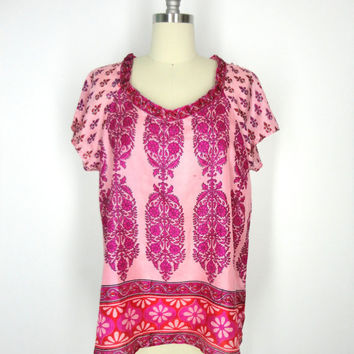 Silk T-Shirt Blouse / Hand Made / Vintage Indian Silk Sari / Pink Red Mod Print / Limited Edition / Medium M
