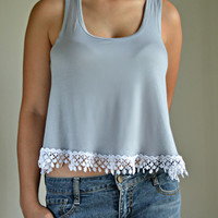 Lace Trim Gray Tank Shirt