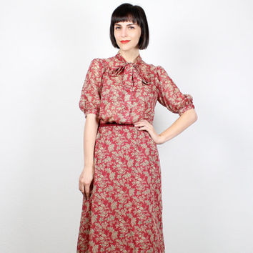 Vintage 70s Outfit Matching Set 1970s Hippie Blouse & Skirt Ascot Tie Pussy Bow Shirt Puff Sleeve Prairie Top Midi Skirt Knee Length S Small