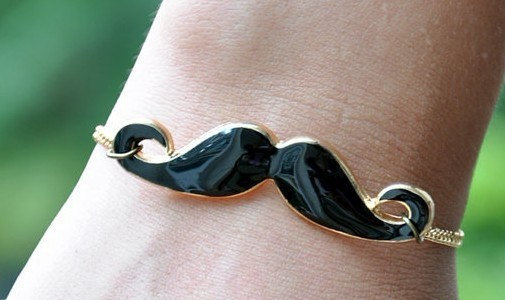 Curly Black Mustache BraceletANTIQUE GLODEN by sweethearteverybody