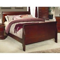 King Size Sleigh Bed Louis Philippe Style in Cherry Finish