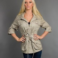 TRENDY LONG SLEEVE ZIP UP 2 FRONT POCKET JACKET