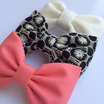 Winter white, black embroidery, and coral Seaside Sparrow hair bow lot.  Perfect birthday gift for any girl.