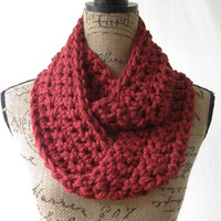 Ready To Ship Dark Red Chunky Scarf Fall Winter Women's Accessory Infinity 151