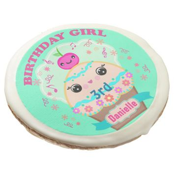 Custom Birthday Kawaii Cupcake Art Cookies