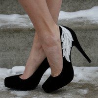 Black Heel With Lace Applique
