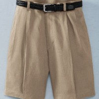 Wrinkle-Resistant Linen Shorts with Pleated Front