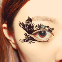 1 Pair Eye Temporary Tattoo Holiday Makeup Eyeshadow Phoenix Dramatic dancer Stage Clubbing Masquerade Christmas halloween party Comicon