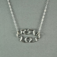 Jigsaw Puzzle Piece Necklace 925 Sterling by WonderfulJewelry