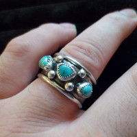 Authentic Navajo,Native American,southwestern,sterling silver triangle turquoise ring.Men's Size 13 1/8