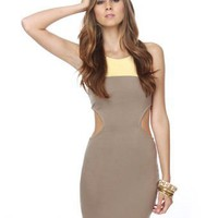 Cute Cutout Dress - Color Block Dress - Taupe Dress - Yellow Dress - $34.50