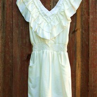 Romantic White Ruffle Dress [2244] - &amp;#36;34.00 : Vintage Inspired Clothing &amp; Affordable Summer Dresses, deloom | Modern. Vintage. Crafted.